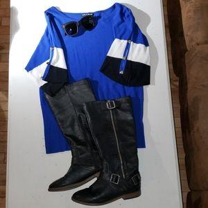 Royal blue color block short sleeve sweater